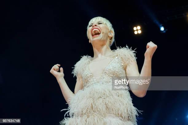 Spanish singer Soraya Arnelas performs during 'La Noche De Cadena 100' charity concert at WiZink Center on March 24 2018 in Madrid Spain