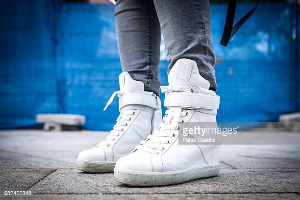 Spanish singer Soraya Arnelas wears Prada boots and H&M jeans on January 22, 2017 in Madrid, Spain.