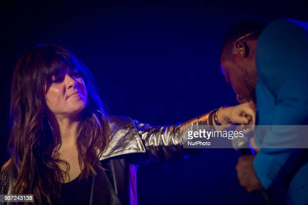 Spanish singer Vanesa Martin performing on stage accompanied by Matias Damasio at Aula Magna in Lisbon on March 23 2018