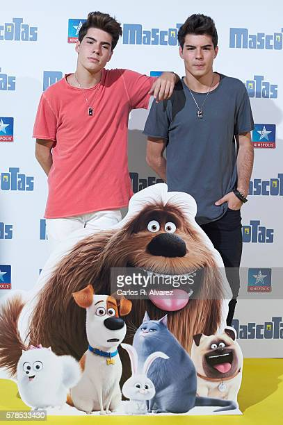 Spanish singers Jesus Oviedo and Daniel Oviedo Gemeliers attend Mascotas premiere at Kinepolis cinema on July 21 2016 in Madrid Spain
