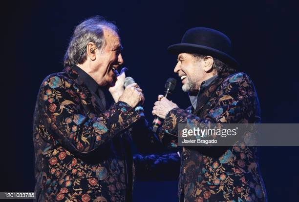 Spanish singers Joan Manuel Serrat and Joaquin Sabina perform on stage at Wizink Center January 21 2020 in Madrid Spain