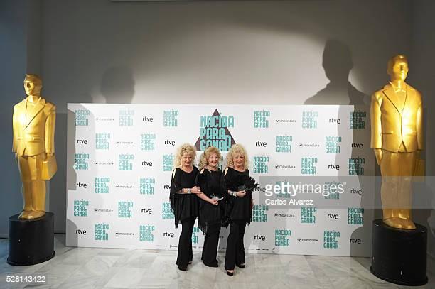Spanish singers Vicky Bodega Luisi Bodega and Susi Bodega Las Supremas de Mostoles attend Nacidas Para Ganar photocall at the Eurobuilding Hotel on...