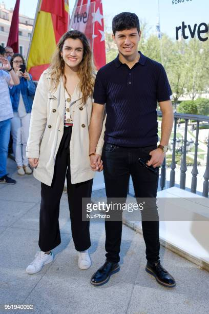 Spanish singers who represent Spain for 2018 Eurovision Song Contest Amaia Romero and Alfred García pose for the media prior to departing for Lisbon...