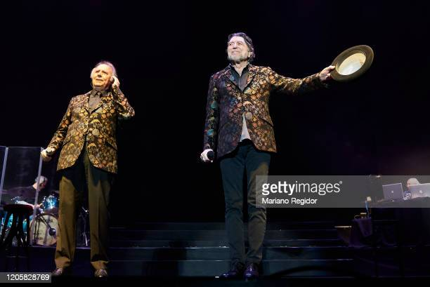 Spanish singersongwriter Joan Manuel Serrat and Spanish singersongwriter Joaquin Sabina perform on stage at Wizink Center on February 12 2020 in...