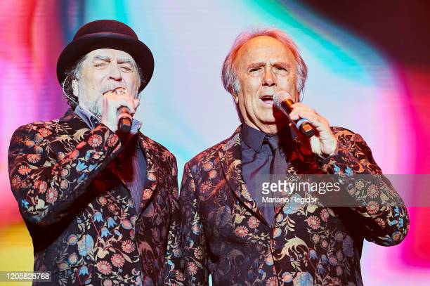 Spanish singersongwriter Joaquin Sabina and Spanish singersongwriter Joan Manuel Serrat perform on stage at Wizink Center on February 12 2020 in...