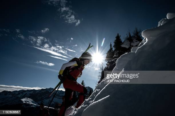 Spanish skier Maria Costa Diaz competes during the individual women's ski mountaineering 2020 Lausanne Winter Youth Olympic Games race on January 10,...