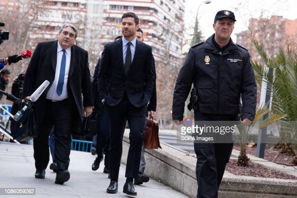 Spanish soccer player Xabi Alonso arrives at the provincial court of Madrid for his tax evasion trial