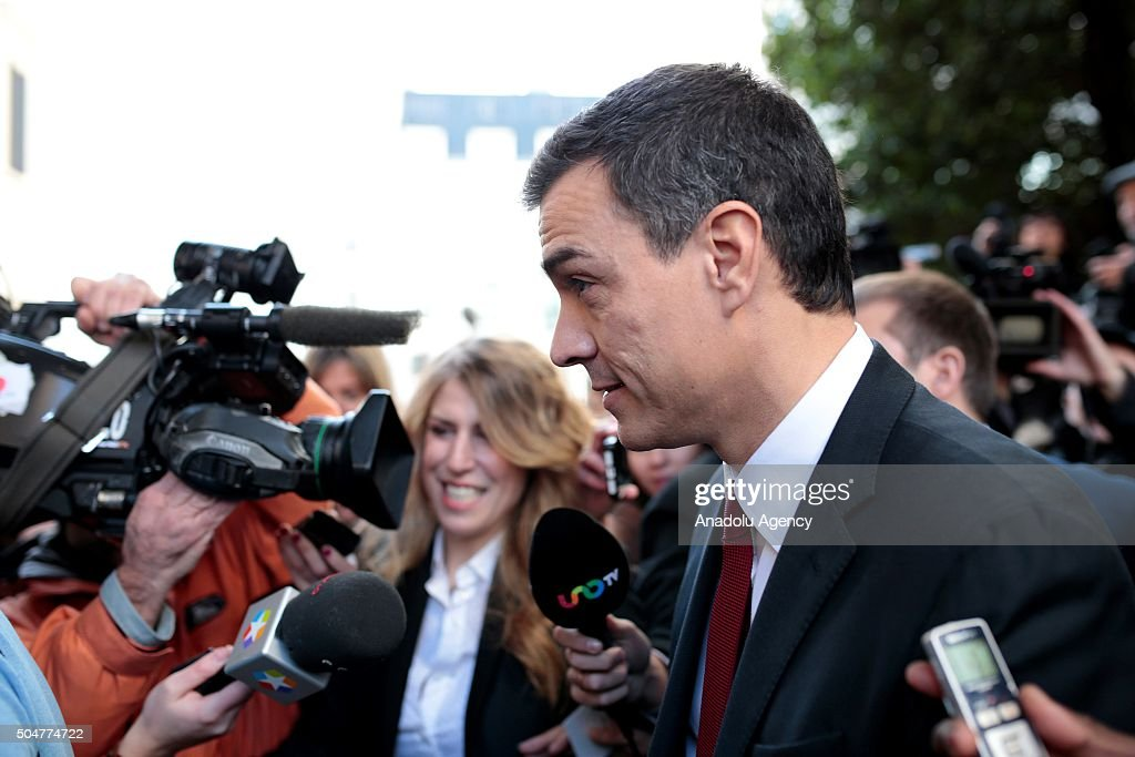 Spanish Socialist Party (PSOE) leader Pedro Sanchez arrives to attend the first session of the Spainish parliament in Madrid, Spain on January 13, 2016.