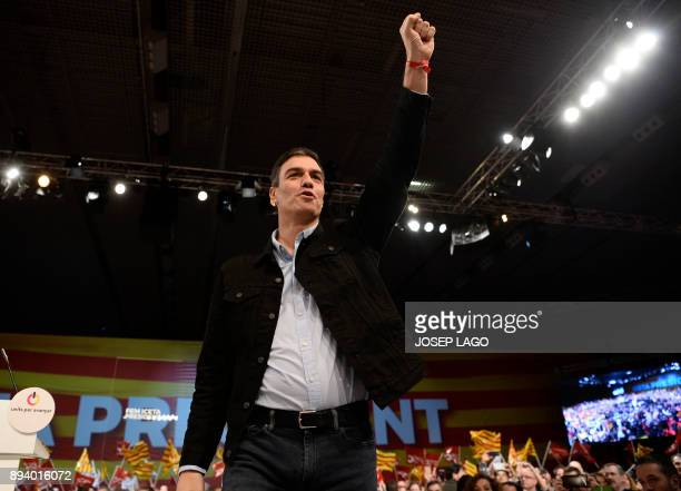 Spanish Socialist party leader Pedro Sanchez attends a campaign meeting of Catalan Socialist party for the upcoming Catalan regional election in...
