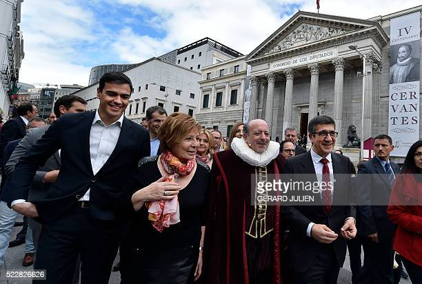 Spanish Socialist Party leader Pedro Sanchez congresswoman for Popular Party Celia Villalobos and Spanish Parliament president Patxi Lopez walk with...