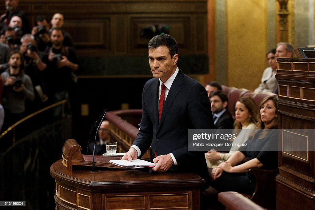 Spanish Socialist Party (PSOE) leader Pedro Sanchez, holds papers as he finishes his speech during a debate to form a new government at the Spanish Parliament on March 1, 2016 in Madrid, Spain. The Spanish Socialist Party leader appeals for support ahead of the investiture debate to get enough votes from the other 349 deputies that would allow him to become Prime Minister. The Spanish political system requires Sanchez to achieve an overall majority in the vote, which follows the debate. If he fails to realise that in the first vote, a simple majority would be enough to make him Prime Minister in a second vote to be held 48 hours later.