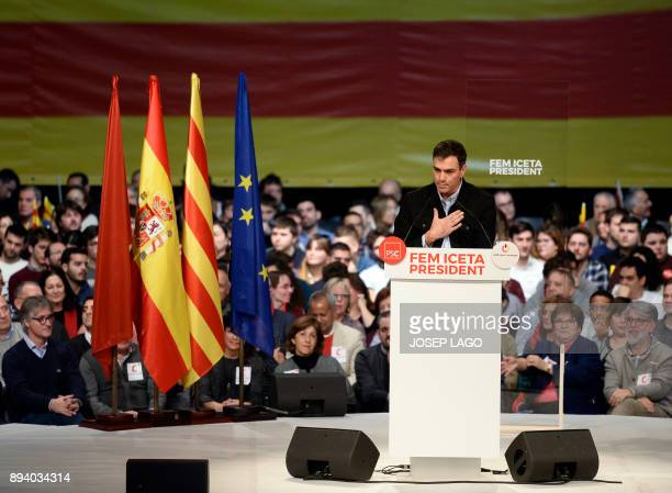 Spanish Socialist party leader Pedro Sanchez speaks during a campaign meeting of Catalan Socialist party for the upcoming Catalan regional election...