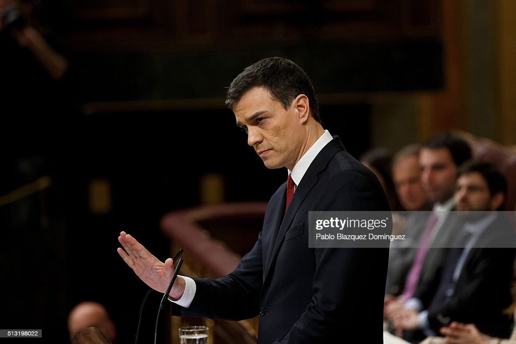 Spanish Socialist Party (PSOE) leader Pedro Sanchez, speaks during a debate to form a new government at the Spanish Parliament on March 1, 2016 in Madrid, Spain. The Spanish Socialist Party leader appeals for support ahead of the investiture debate to get enough votes from the other 349 deputies that would allow him to become Prime Minister. The Spanish political system requires Sanchez to achieve an overall majority in the vote, which follows the debate. If he fails to realise that in the first vote, a simple majority would be enough to make him Prime Minister in a second vote to be held 48 hours later.