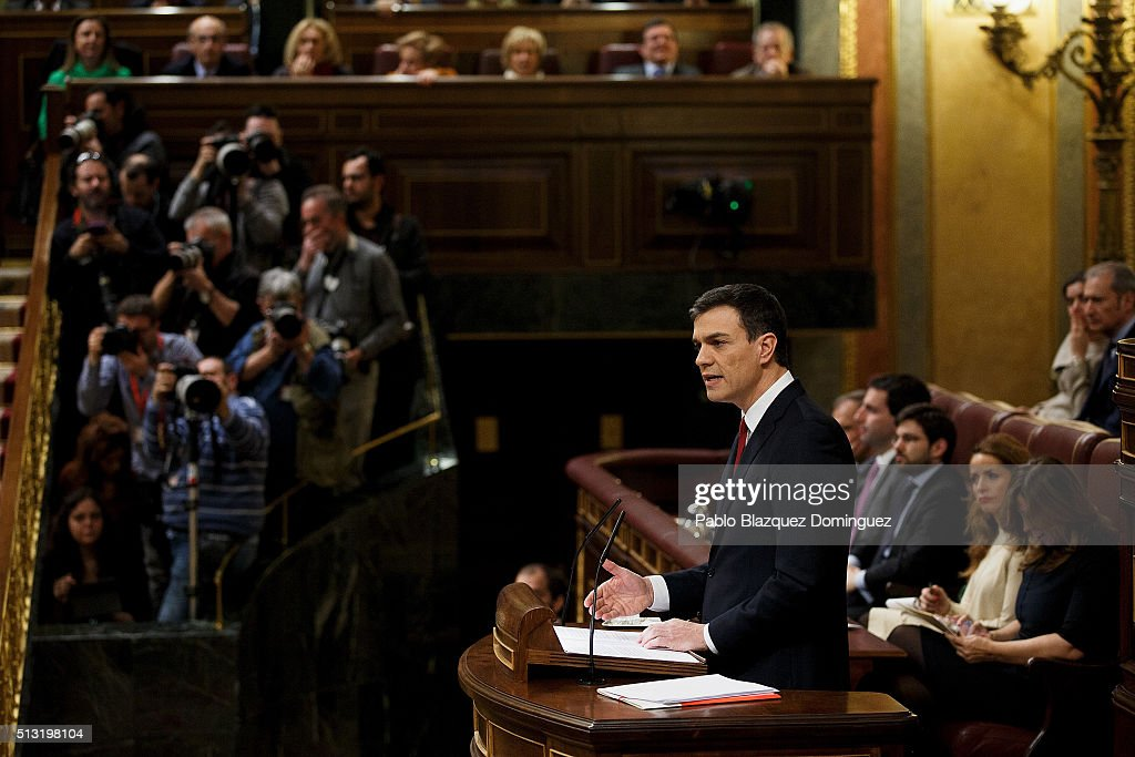 Spanish Socialist Party (PSOE) leader Pedro Sanchez, speaks during a debate to form a new government at the Spanish Parliament on March 1, 2016 in Madrid, Spain. The Spanish Socialist Party leader appeals for support ahead of the investiture debate to get enough votes from the other 349 deputies that would allow him to become Prime Minister.ÊThe Spanish political system requires Sanchez to achieve an overall majority in the vote, which follows the debate. If he fails to realise that in the first vote, a simple majority would be enough to make him Prime Minister in a second vote to be held 48 hours later.