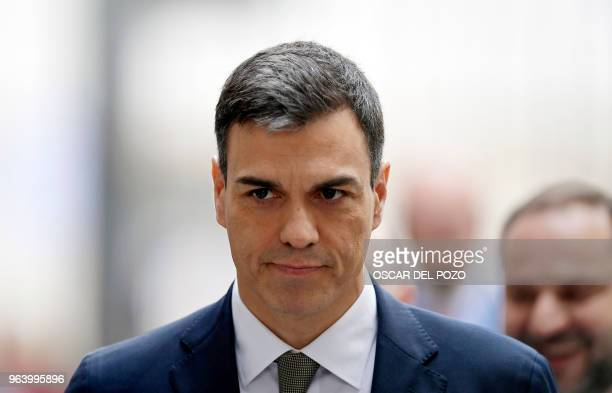 Spanish Socialist Party PSOE candidate for president Pedro Sanchez arrives to debate a noconfidence motion tabled by his party at the Lower House of...