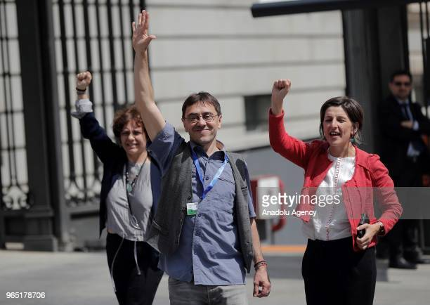 Spanish Socialist Workers' Party party members celebrate after winning the noconfidence motion at the Lower House of the Spanish Parliament on June 1...