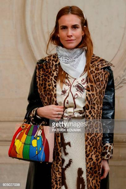 Spanish socialite Blanca Miro poses for a photocall before the Christian Dior's 2018/2019 fall/winter collection fashion show on February 27 2018 at...