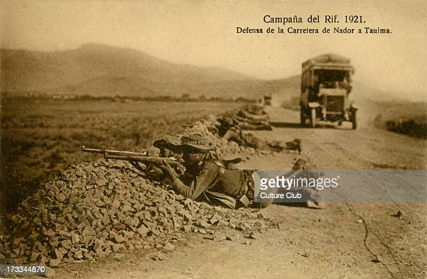 Spanish soldiers defend a road outside Tauima Morocco as part of an action in the Rif War