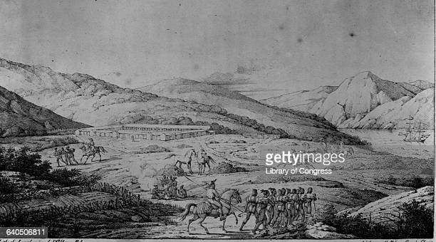 Spanish soldiers dominate Ohlone at the Presidio in a lithograph by V Adam after a painting by Louis Choris from A Picturesque Voyage Around the...