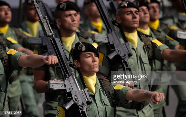 Spanish soldiers march during the National Day military parade in downtown Madrid Spain on October 12 2019 Some 4500 troops Civil Guard officers and...