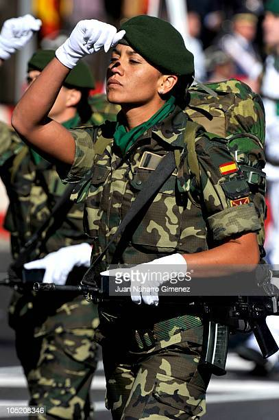 Spanish soldiers march in the National Day Military Parade in the Paseo de la Castellana on October 12 2010 in Madrid Spain