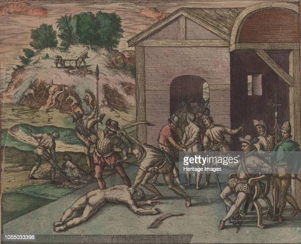 Spanish soldiers observe and carry out the punishment of a slave who is flogged and has pitch poured on his wounds 1595 Private Collection Artist Bry...