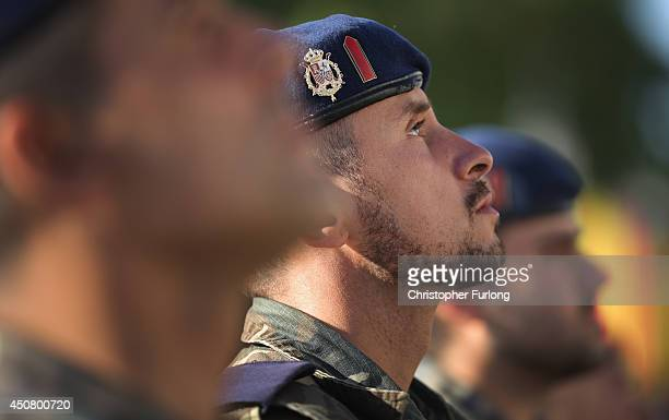 Spanish soldiers rehearse their parade in front of the Royal Palace in preparation for tomorrows coronation of Prince Felipe on June 18 2014 in...