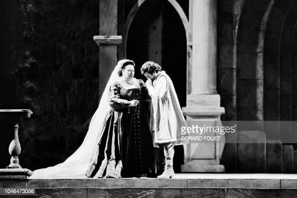Spanish soprano Montserrat Caballe and Italian baryton Piero Capucilli perform in Giuseppe Verdi's Simon Boccanegra on stage of the Choregies...