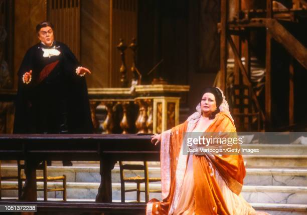 Spanish soprano Montserrat Caballe in the title role and American baritone Cornell MacNeil perform at the final dress rehearsal prior to the season...