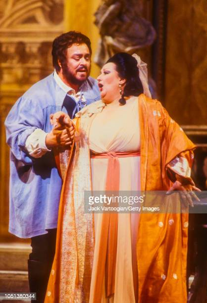 Spanish soprano Montserrat Caballe in the title role and Italian tenor Luciano Pavarotti perform at the final dress rehearsal prior to the season...