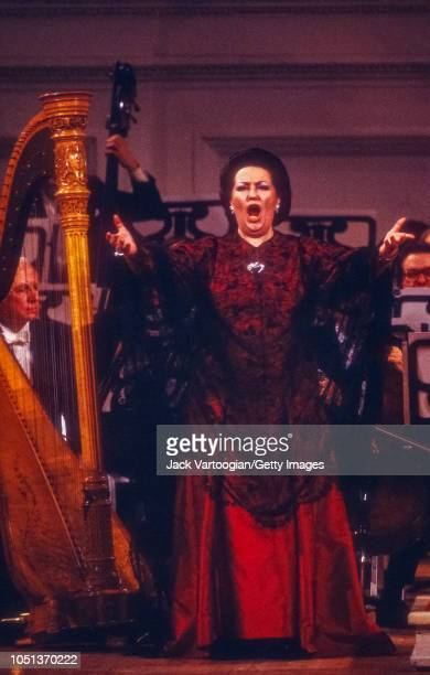Spanish soprano Montserrat Caballe performs at the taping for the Public Broadcasting System television program 'Gala of Stars 1981' at Carnegie...