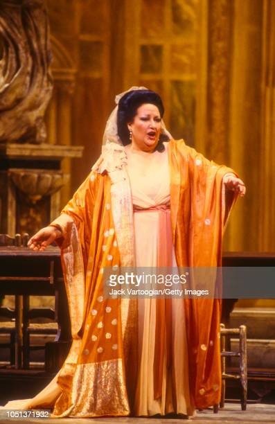 Spanish soprano Montserrat Caballe performs in the title role at the final dress rehearsal prior to the season premiere of the Metropolitan...