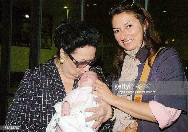 Spanish soprano Montserrat Caballe poses with her granddaughter Daniela , daughter of Montserrat Marti and Daniel Faidella on November 2, 2011 in...