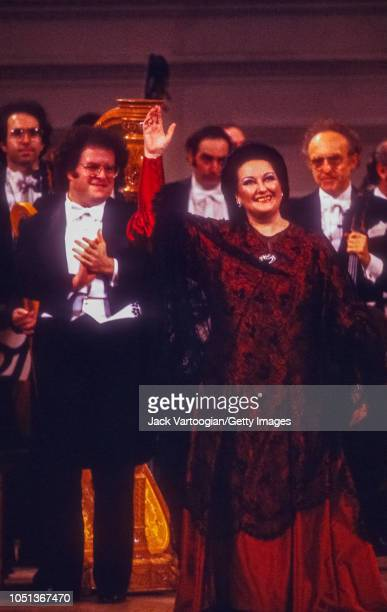Spanish soprano Montserrat Caballe takes a bow with conductor James Levine at the taping for the Public Broadcasting System television program 'Gala...