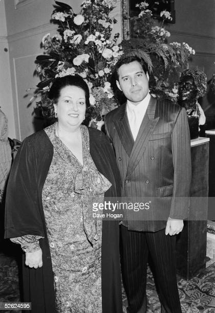 Spanish soprano Montserrat Caballe with singer Freddie Mercury of British rock group Queen. The previous year they had performed as a duet, releasing...
