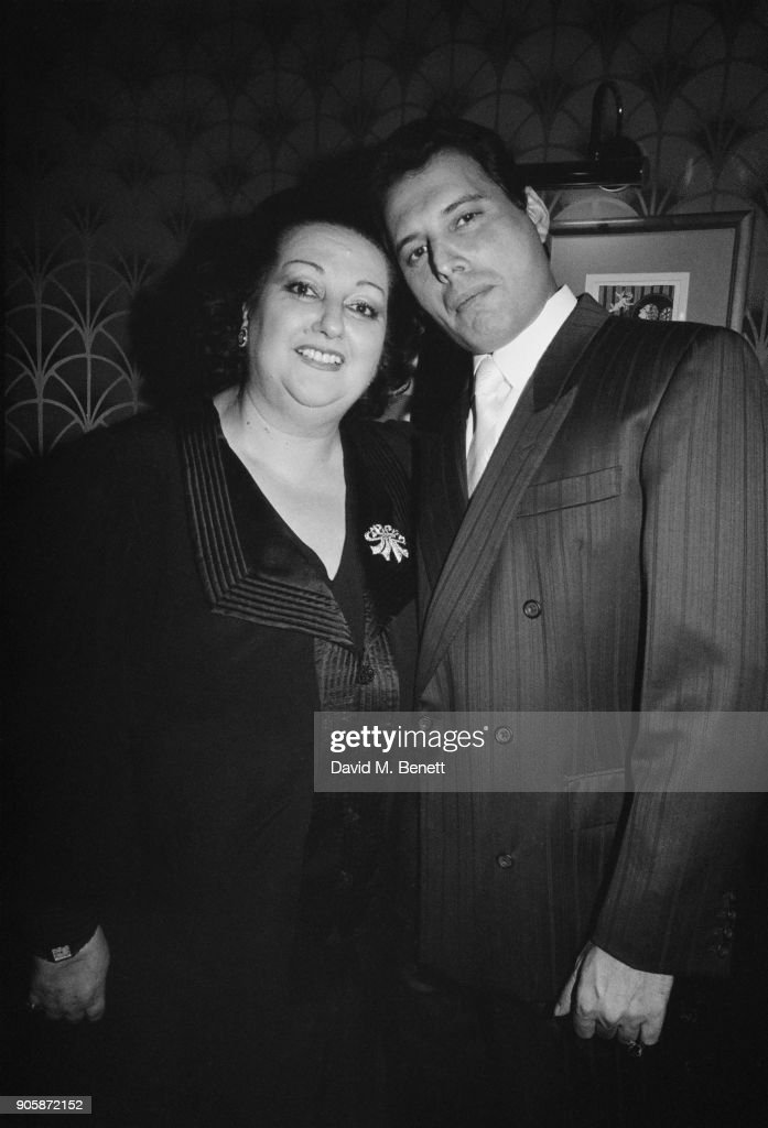 Spanish soprano Montserrat Caballe with singer Freddie Mercury (1946 - 1991) of British rock group Queen, December 1988. The previous year they had performed as a duet, releasing 'Barcelona'.