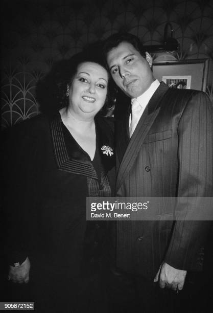 Spanish soprano Montserrat Caballe with singer Freddie Mercury of British rock group Queen, December 1988. The previous year they had performed as a...