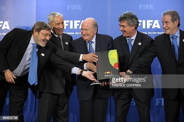 Spanish Sport Minister Jaime Lissavetzky General Secretary of the Portugese Football Federation Angelo Brou FIFA president Sepp Blatter President of...