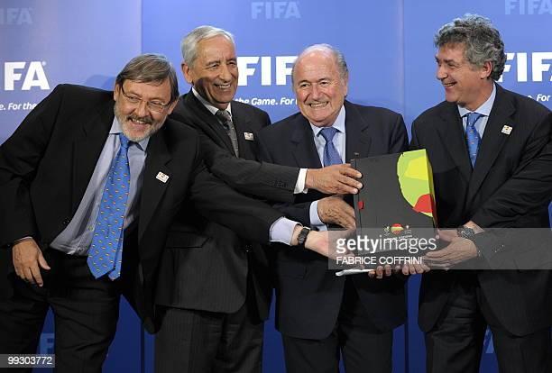 Spanish Sport Minister Jaime Lissavetzky General Secretary of the Portugese Football Federation Angelo Brou FIFA president Sepp Blatter and President...