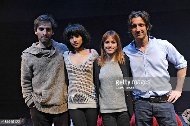 Spanish stage director Marta Etura poses among the actors Gonzalo de Santiago, Aura Garrido and Alejandro Botto for a photo shoot after the dress...
