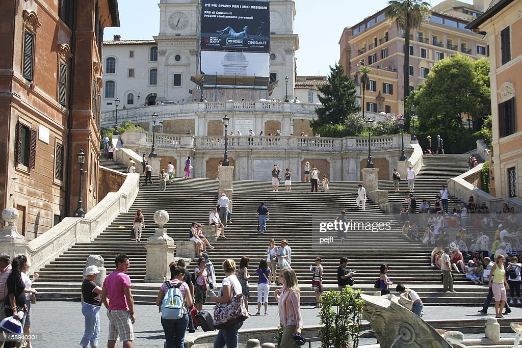 Spanish Steps with people : Stock Photo