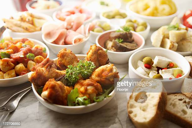 spanish stills: tapas - variety - tapas stock photos and pictures