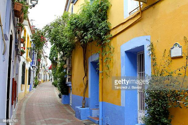 spanish street - marbella stock pictures, royalty-free photos & images