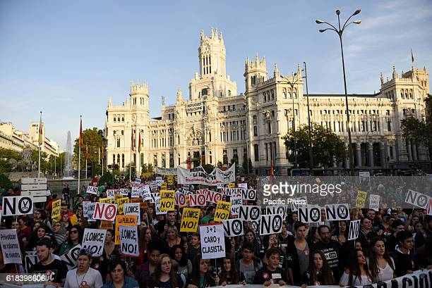 Spanish students pictured during a protest in Madrid against the education reform LOMCE and the cuts in the public education system An estimated...