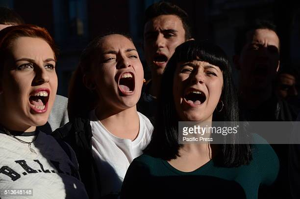 Spanish students shout slogans in Madrid during a protest against the education reform LOMCE and the cuts in the public education system
