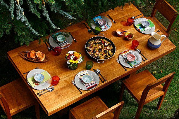 Kitchen Spanish Style Dining Table With Paella