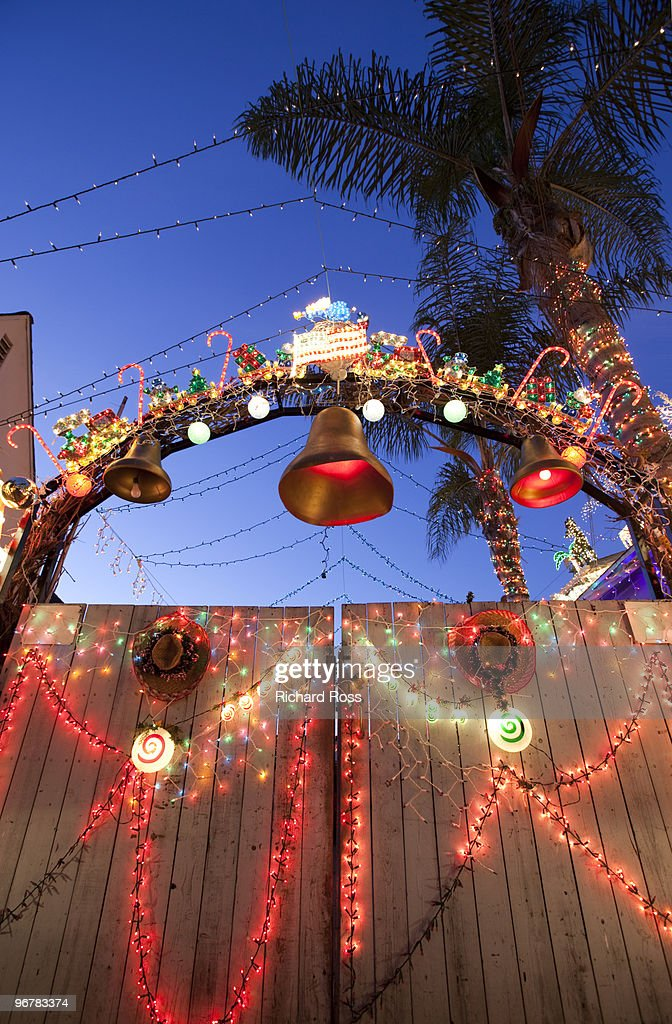 spanish style gate with christmas decorations stock photo