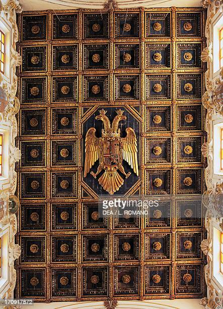 Spanish style gilded coffered ceiling with the imperial eagle in the center Agrigento Cathedral Agrigento Sicily Italy