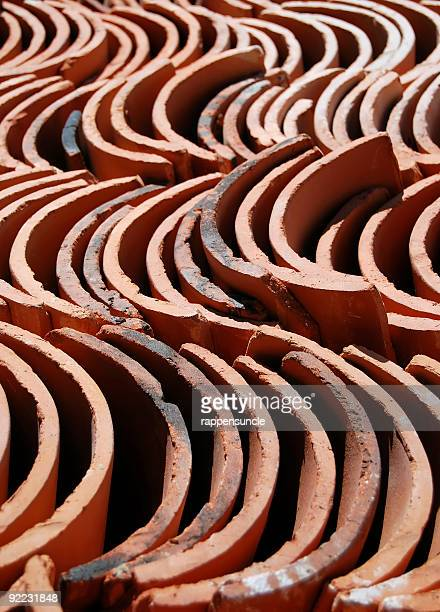 spanish style roof tiles - art and craft product stock pictures, royalty-free photos & images