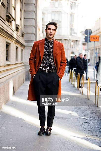 Spanish supermodel Jon Kortajarena exits the Salvatore Ferragamo show as a guest during the Milan Men's Fashion Week Fall/Winter 2016/17 on January...